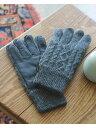 BEAMS MEN BEAMS / ケーブル編み レザーグローブ(タッチパネル対応) ビームス メン ファッショングッズ 手袋 グレー …