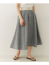 O'NEIL OF DUBLIN Linen Check  Swing Skirt