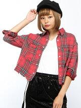 【JUNIOR SWEET】(L)ヴィンテージクロップドシャツ