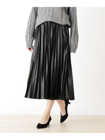 【SALE/20%OFF】SHOO・LA・RUE 【M-LL】エコレザープリーツスカート シューラルー スカート スカートその他 ブラック ブラウン ベージュ