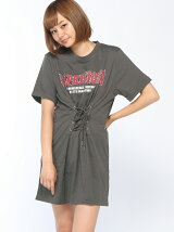 ANAPバンドTシャツ風ウエストレースアップワンピース