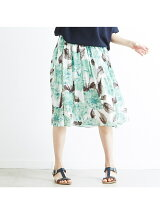 花柄ミディ丈ギャザースカート