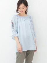 holiday holic 襟シャーリング袖刺繍5分袖ブラウス