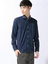 (M)5900円ビジカジシャツ綿100%ネイビーチェックカッタウェイ