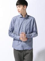 (M)5900円ビジカジシャツ 綿100% ブルー カッタウェイ