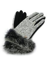 ラビットファーツィード手袋