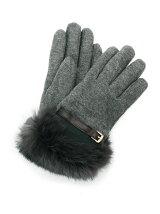 ラビットファーベルト付き手袋