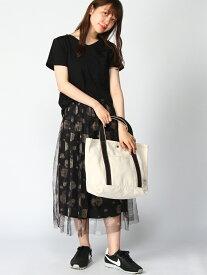【SALE/30%OFF】GeeRA Tシャツ&プリントチュールスカート2点 ジーラ カットソー Tシャツ ブラック ホワイト レッド