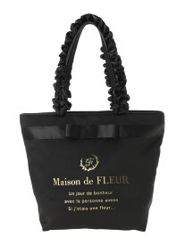 Maison de FLEUR ブランドロゴフリルハンドルトートMバッグ メゾン ド フルール バッグ トートバッグ ブラック ネイビー ピンク ブルー【送料無料】
