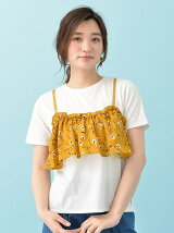 OLIVE フェイク花柄キャミTシャツ