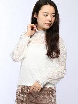 【BROWNY STANDARD】(L)パフスリーブレースロングTシャツ