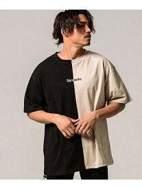 CavariA CavariAバイカラードローコードロゴ刺繍ビッグシルエットクルーネック半袖Tシャツ シルバーバレット カットソー