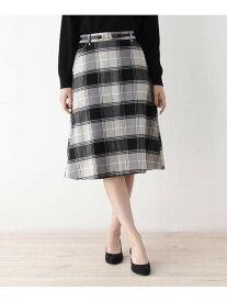 【SALE/35%OFF】grove ビットベルト付きAラインスカート グローブ スカート スカートその他 ブラック ベージュ ブルー
