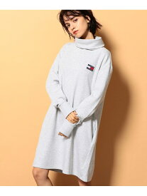 TOMMY JEANS (W)TOMMY HILFIGER(トミーヒルフィガー) モックネックワンピース トミーヒルフィガー ワンピース ワンピースその他 グレー ブラック【送料無料】