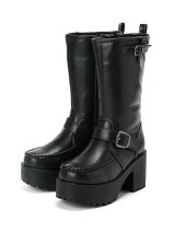 (L)プラットフォームハーフブーツ ブラック