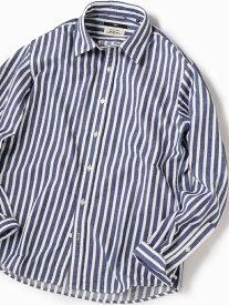 SHIPS SC:Shuttlenotesストライプレギュラーカラーネルシャツ シップス シャツ/ブラウス 長袖シャツ ブルー ホワイト【送料無料】