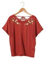 フロント刺繍5分袖カットプルオーバー