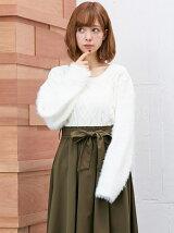 9/8C・袖ファーケーブル/ニット