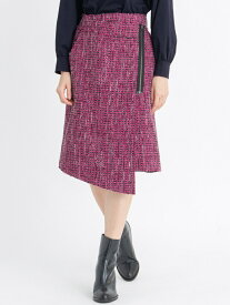 【SALE/65%OFF】LANVIN en Bleu ボンディングツィードラップスカート ランバンオンブルー スカート スカートその他 ピンク【送料無料】