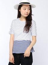(W)ペプラムボーダー柄Tシャツ・カットソー(日本限定)