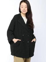 綿麻オックスノーカラーコクーンコート