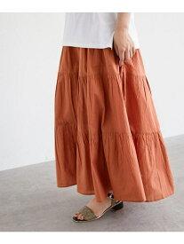 【SALE/50%OFF】OZOC [洗える・インドコットン]ティアードスカート オゾック スカート ロングスカート オレンジ ブラウン