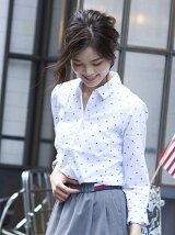 (W)コットンパターンシャツ