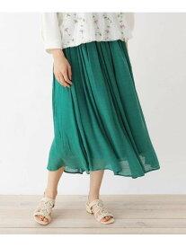 【SALE/40%OFF】SHOO・LA・RUE 【M-L】メッシュベルト付きスラブスカート シューラルー スカート ロングスカート グリーン カーキ ネイビー