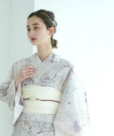 utatane utatane/(W)変わり織り浴衣3点セット ペールピンクにラベンダー紫陽花 ウタタネ ビジネス/フォーマル 着物/浴衣 ホワイト【送料無料】