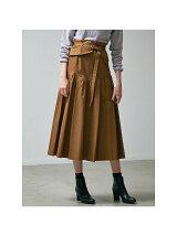 ベルト付きタックロングスカート
