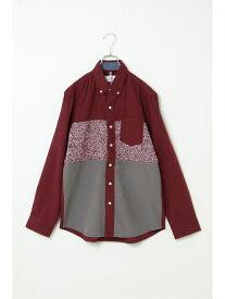 【SALE/50%OFF】ikka ネルニット切り替えシャツ イッカ シャツ/ブラウス シャツ/ブラウスその他 レッド ネイビー ブラウン
