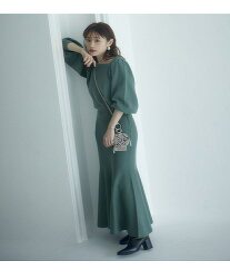 vis-`a-vis 【vis-`a-vis】メリハリシルエットが女性らしい.ニットマーメードスカート【セットアップ対応】 ビス スカート スカートその他 グリーン グレー ブラウン