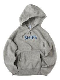 SHIPS SU:【一部WEB限定カラー】SHIPSロゴビッグシルエットエンブロイダリーパーカー(トレーナー) シップス カットソー パーカー グレー ブラウン グリーン ネイビー【送料無料】