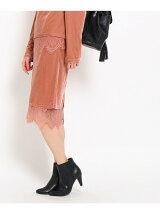裾レースベロアタイトスカート