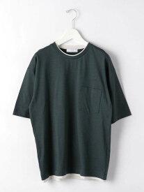【SALE/30%OFF】UNITED ARROWS green label relaxing CSMC/LIフェイクレイヤードクルーネック半袖Tシャツカットソー ユナイテッドアローズ グリーンレーベルリラクシング カットソー Tシャツ グリーン ホワイト グレー ブラウン