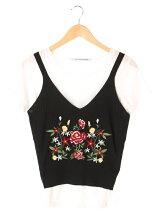 RAY CASSIN RAY SET2点 花刺繍ニットタンク×Tシャツ