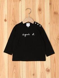agnes b. ENFANT ENFANT/(K)S137 L TS ベビー ロゴTシャツ アニエスベー カットソー キッズカットソー ブラック ホワイト【送料無料】
