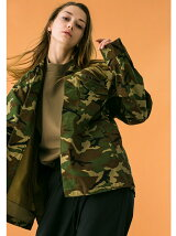 <monkey time> BACK SATIN CAMO UTILITY JACKET/ユーティリティーシャツ