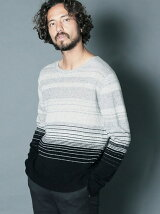 LAMB WOOL GRADATION BOADER KNIT