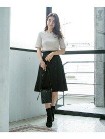【SALE/30%OFF】index 【42(LL)WEB限定サイズ】ボタンフレアスカート インデックス スカート スカートその他 ブラック ベージュ