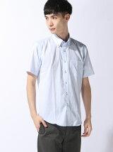 半袖ストライプボタンダウンシャツ