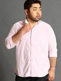 HIDEAWAYS(大きいサイズ) <大きいサイズ>イタリアンカラー7分袖シャツ ニコル シャツ/ブラウス 七分袖シャツ ピンク ホワイト ブルー ネイビー【送料無料】