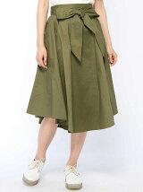 リボン付スリットフレアスカート