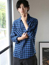 【SALE/50%OFF】coen バッファローチェックワークシャツ コーエン シャツ/ブラウス 長袖シャツ ネイビー レッド
