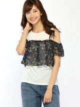 シフォン花柄肩あきTシャツ