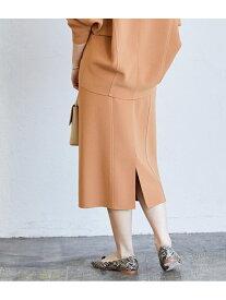 【SALE/75%OFF】ADAM ET ROPE' ニットジョーゼットボンディングスカート アダムエロペ スカート スカートその他 ブラウン ホワイト【送料無料】