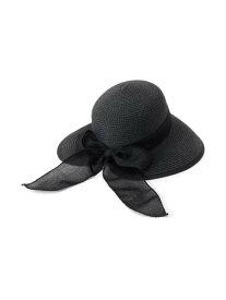 【SALE/60%OFF】SHOO・LA・RUE 【接触冷感/UV】ペーパーブレンドリボン付きハット シューラルー 帽子/ヘア小物 ハット ブラック ブラウン