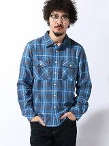 (M)吸汗速乾 フランネルチェックシャツ長袖
