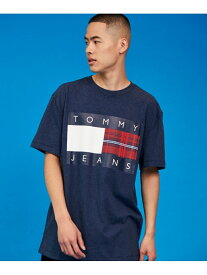 【SALE/50%OFF】TOMMY JEANS (M)TOMMY HILFIGER(トミーヒルフィガー) チェックロゴTシャツ トミーヒルフィガー カットソー Tシャツ ネイビー ホワイト