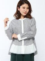 RAW FUDGE/裾ふらしストライプシャツ
